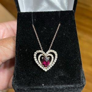 SALE! LeVain Raspberry Garnet diamond necklace